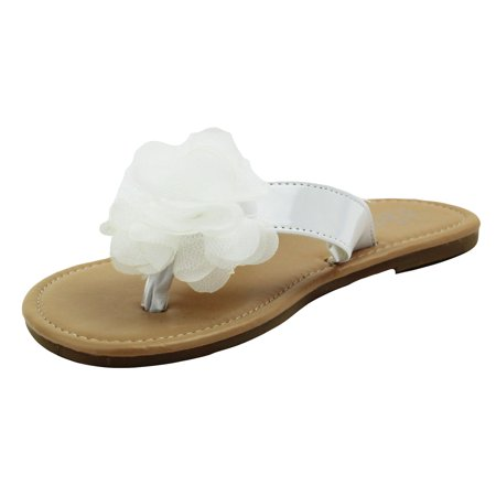 72895df1c75c Stepping Stones Little Girls White Flip Flop Thong Sandals with Chiffon  Ruffle Flower Hard sole Summer
