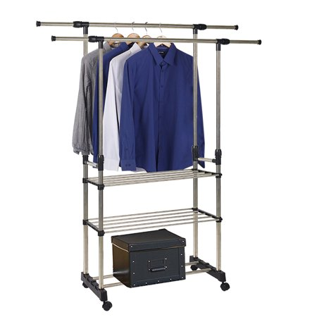 3 Rod Storage - KARMAS PRODUCT Hanging Clothes Garment Rack on Wheels Portable Clothing Storage Rack with 3 Tiers Shelves Extendable Rod Laundry Drying Rack