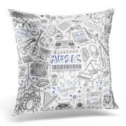 ARHOME Festival Drum Music Doodles Musical Instruments Devices and Symbols Freehand Drawing White Band Concert Pillow Case Cushion Cover 20x20 Inches