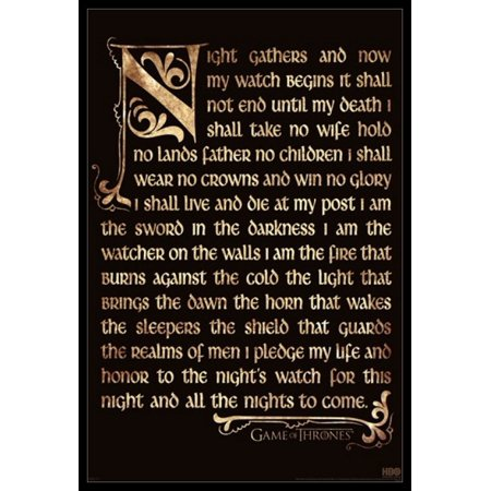 Game of Thrones - Nights Watch Oath Poster Poster Print (Game Of Thrones Season 5 Poster)