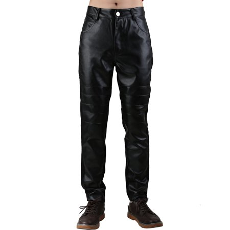 - Men's Five Pockets Zipper Fly Pleated PU Leather Panel Skinny Pants