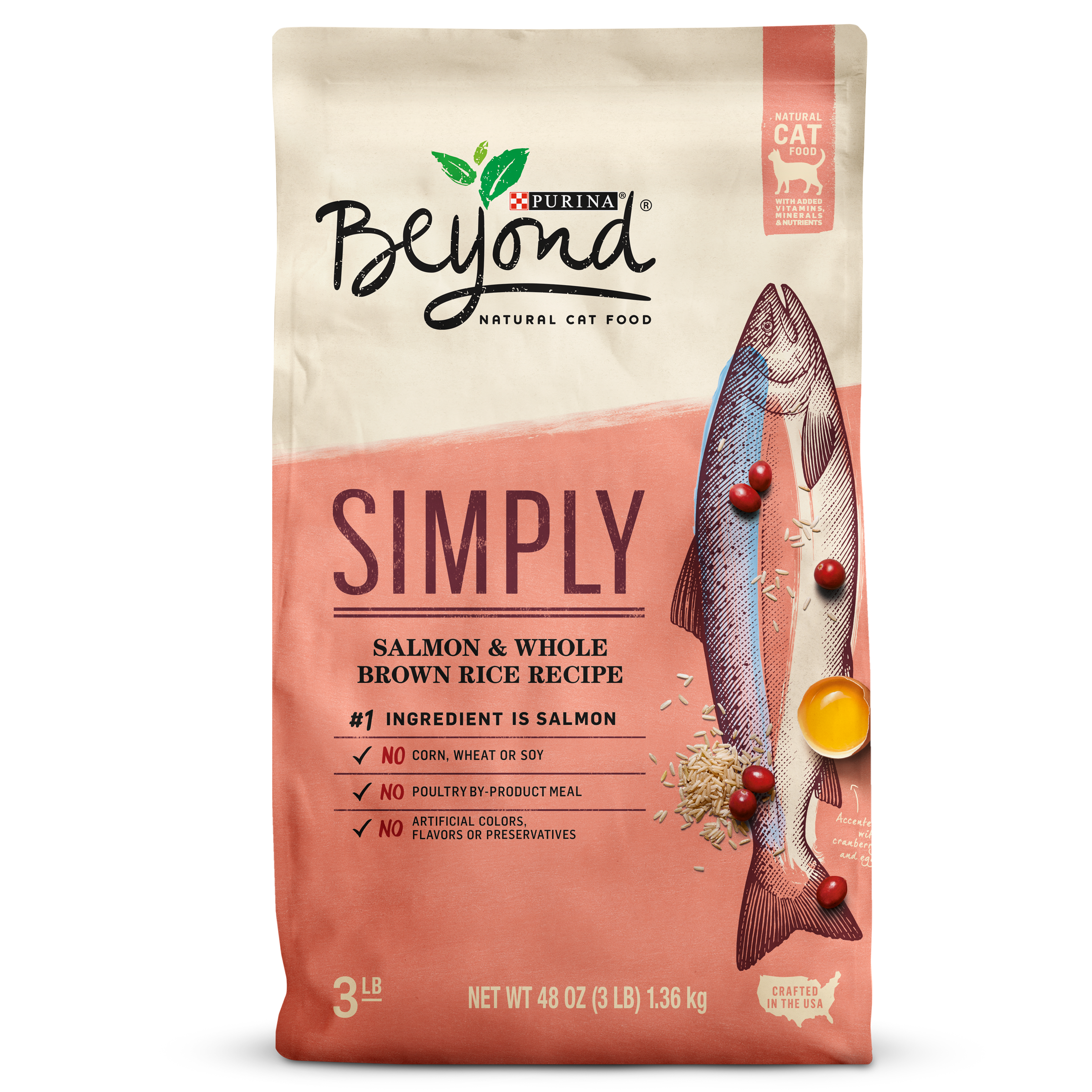 Purina Beyond Simply Salmon & Whole Brown Rice Recipe Adult Dry Cat Food - 3 lb. Bag