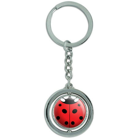 - Lady Bug Ladybug Insect Spinning Round Metal Key Chain Keychain Ring