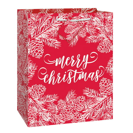 (5 pack) Merry Christmas Gift Bag, 13 x 10.5 in, Red and White,