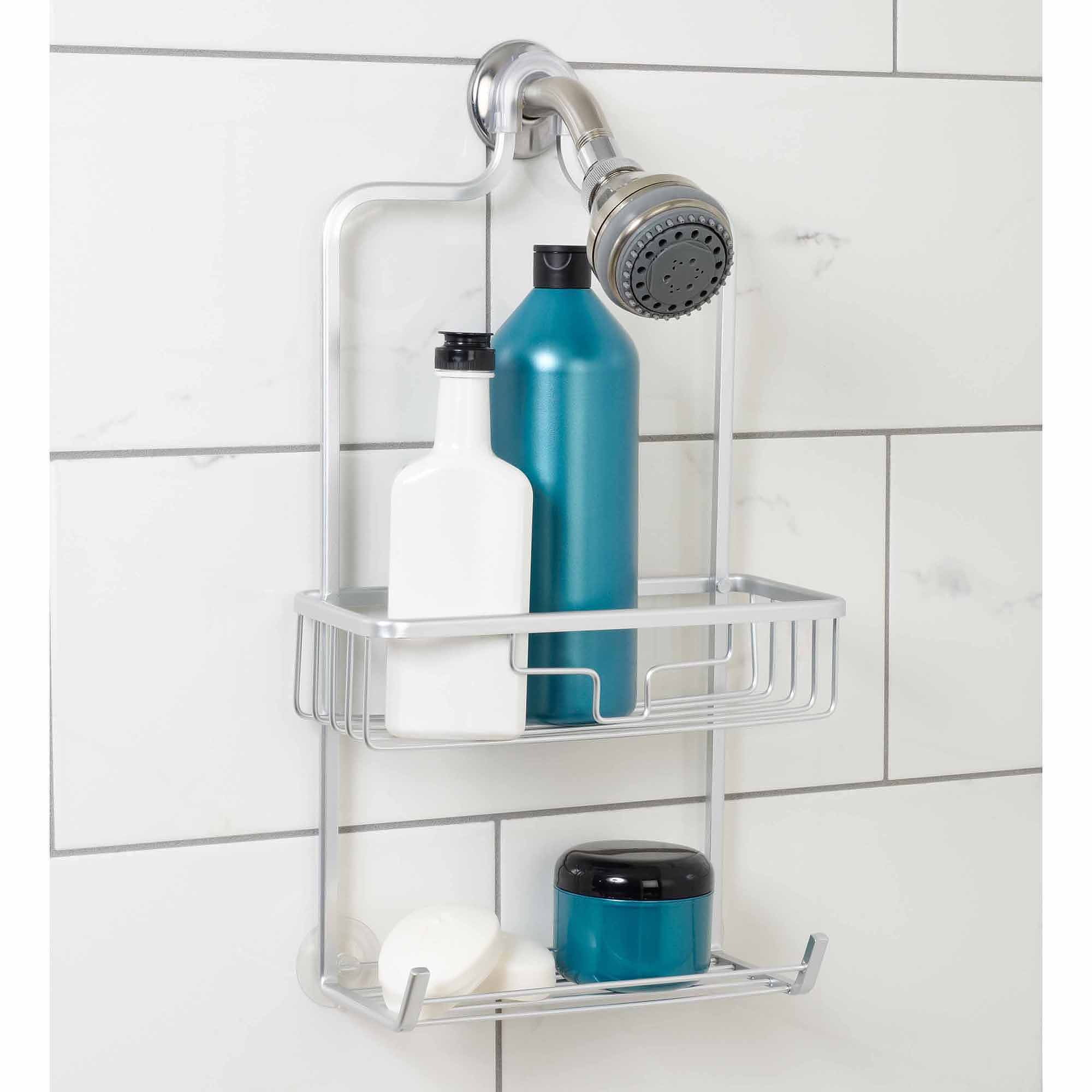 zenna home neverrust aluminum shower caddy with bucket shelf satin chrome