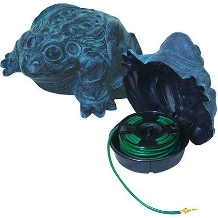 "Emsco Group 1563-1 ""DARWOOD"" Frog Hose Hider with Hose Reel - Holds 100 Foot Garden Hose, Patina"