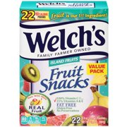 Welch's Fruit Snacks, Island Fruits, 0.9 Oz, 22 Ct