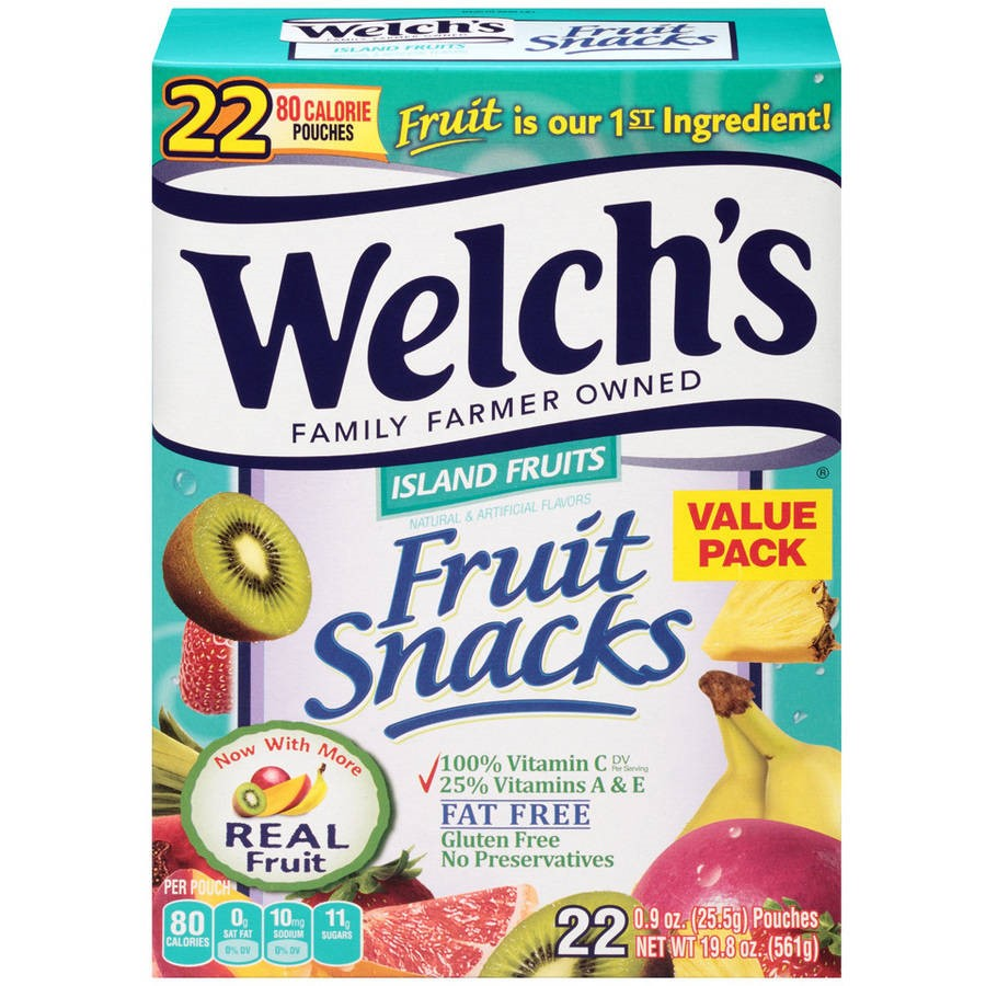(3 Pack) Welch's Fruit Snacks, Island Fruits, 0.9 Oz, 22 Ct