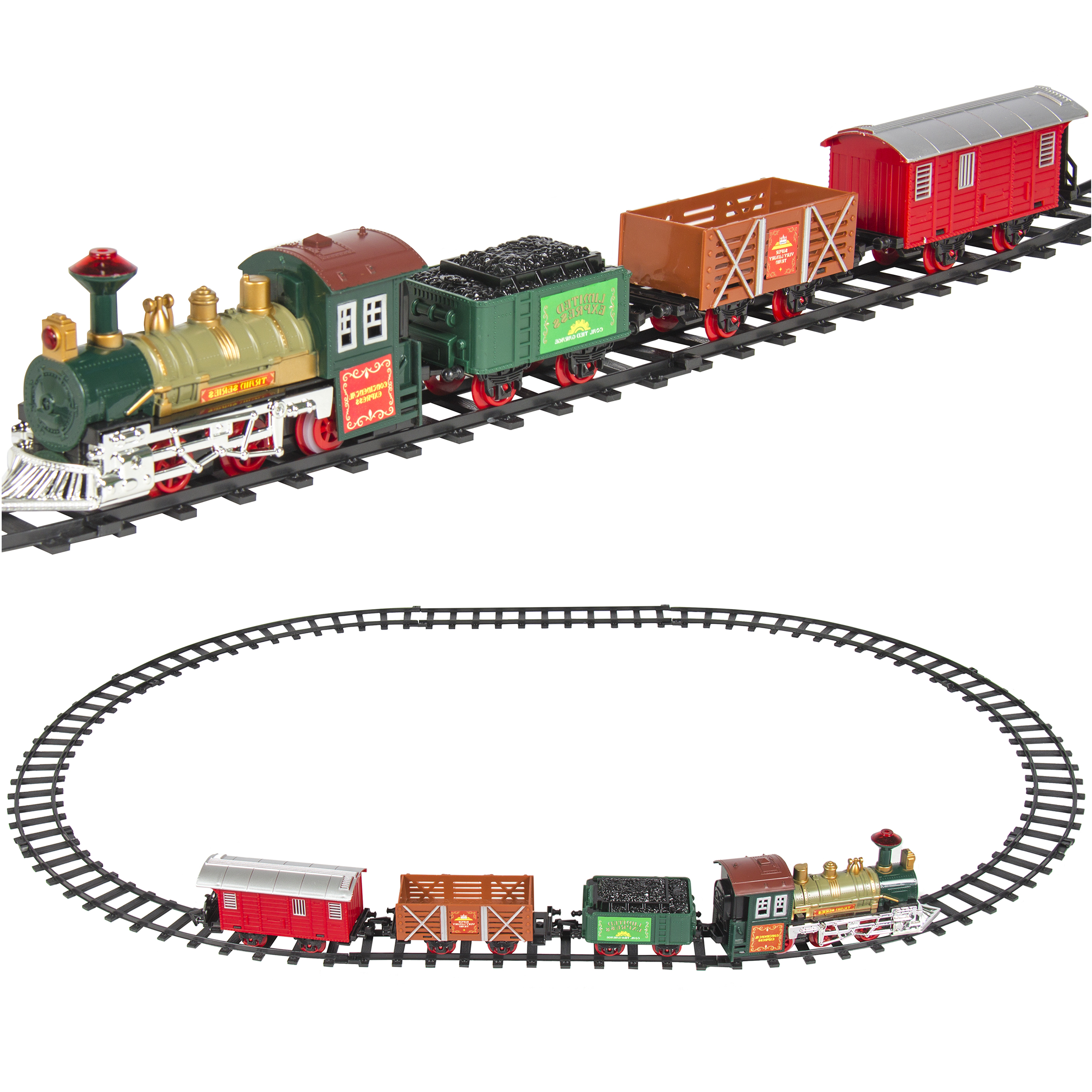 Classic Train Set For Kids With Music and Lights Battery Operated Railway Car Set