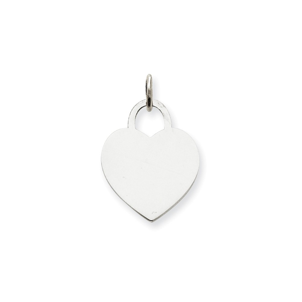 14k White Gold Medium Engravable Heart Charm (0.9in long x 0.6in wide)