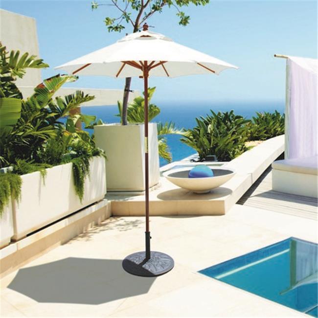 Galtech 6 ft. Dark Wood Cafe & Bistro Style Umbrella - Mandarin Orange Suncrylic