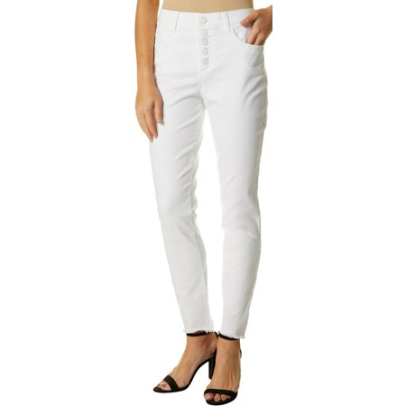 Democracy Womens Ab-solution High Rise Button Fly Jeans White High Rise