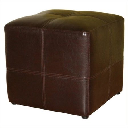 Pemberly Row Leather Cube Ottoman in Dark Brown