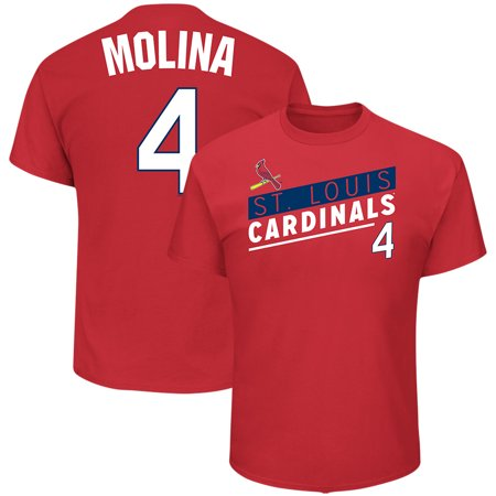 Men's Majestic Yadier Molina Red St. Louis Cardinals Name & Number T-Shirt