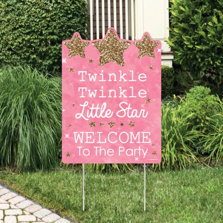 Pink Twinkle Little Star - Party Decorations - Birthday Party or Baby Shower Welcome Yard Sign