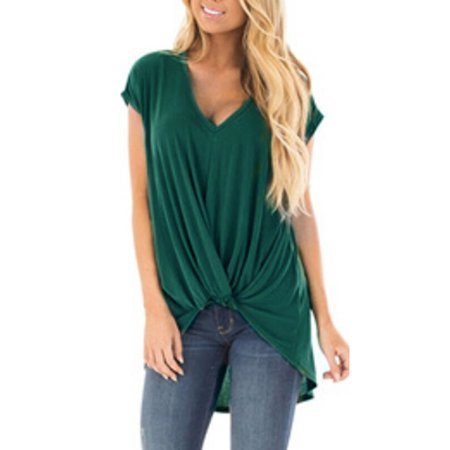 1450b932460 Womens Pleated V Neck Short Sleeve Tunic T-Shirt Casual Loose Tops Shirt  Blouse - Walmart.com