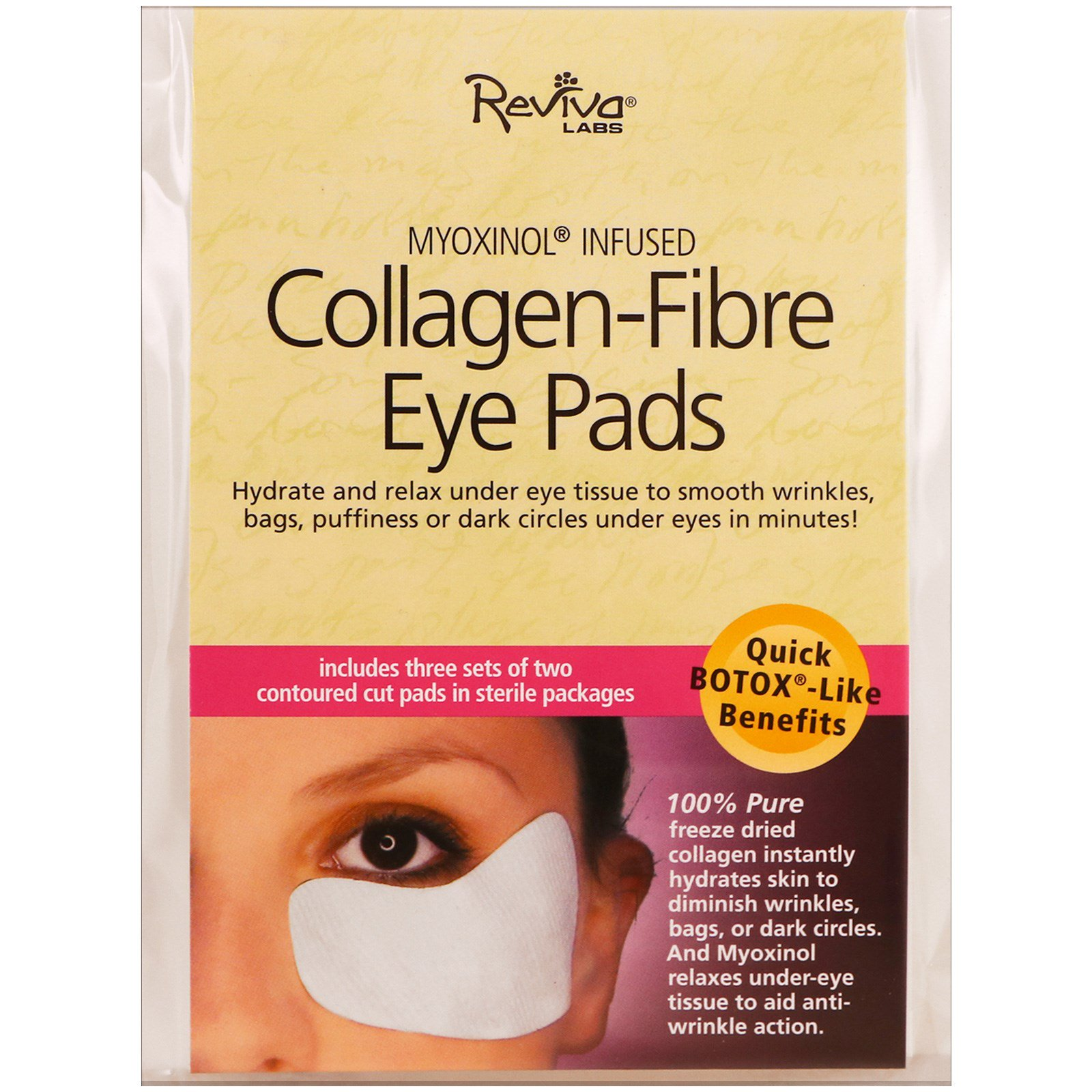 Reviva Labs, Collagen-Fibre Eye Pads, 3 Sets of Two Contoured Pads(pack of 1)