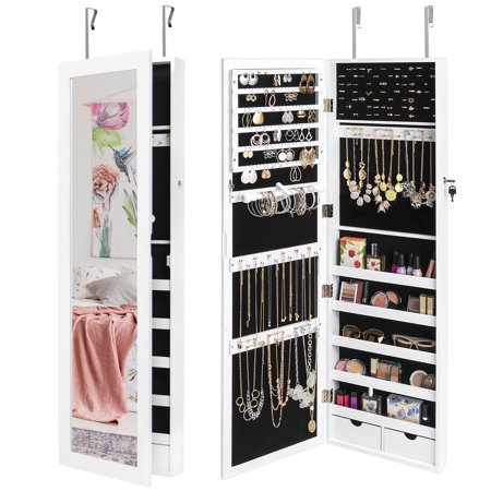 Best Choice Products Mirrored Hanging Jewelry Cabinet Armoire Organizer Over Door Wall Mount W/ Keys- White Wall Mounted Jewelry