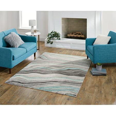 Better Homes & Gardens Gray & Aqua Waves Area Rug, Multiple Sizes