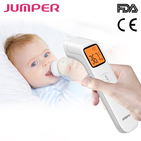 JUMPER Baby Forehead Thermometer Accurate Clinical Digital Infrared Thermometer w/ Fever Alarm Function for Kids Toddler Children Adults CE and FDA