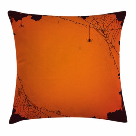 Spider Web Throw Pillow Cushion Cover, Grunge Halloween Composition Scary Framework with Insects Abstract Cobweb, Decorative Square Accent Pillow Case, 24 X 24 Inches, Orange Brown, by Ambesonne - Halloween Zumba Pics