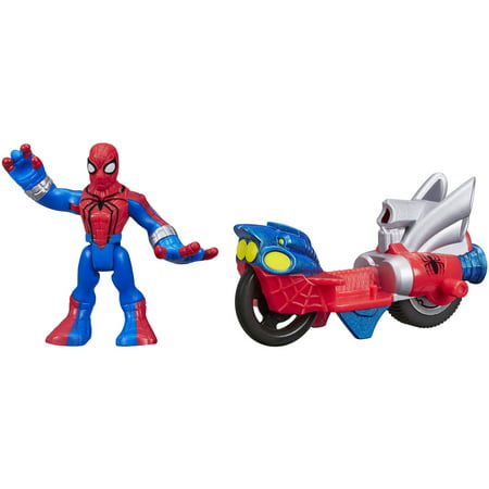 Playskool Heroes Marvel Super Hero Adventures Spider-Man Figure with Web Racer Vehicle (Black Widow Spider Web)