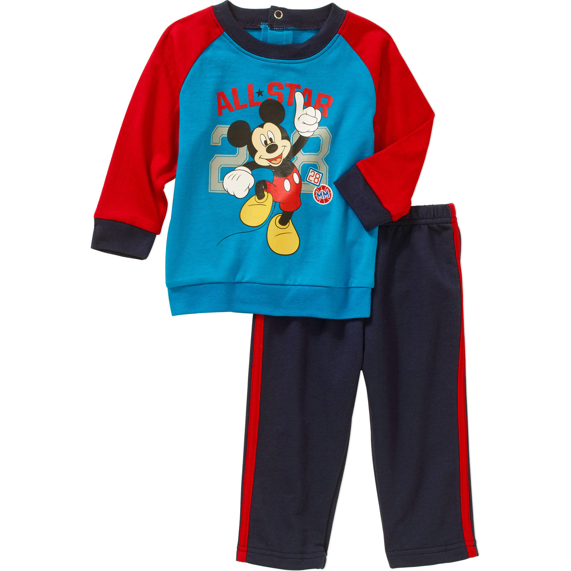 Mickey Mouse Newborn Baby Boys' French Terry Top and Jersey Pants Outfit Set