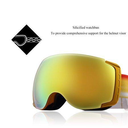 344eb58a110d Carryon Authorized Adult Snowboard Goggles Ski Glasses Spherical Anti-fog  Golden - image 1 of ...