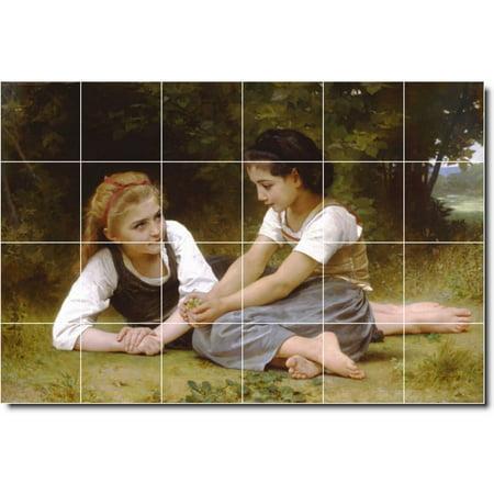 Ceramic Tile Mural William Bouguereau Children Painting 54 48 w x 32