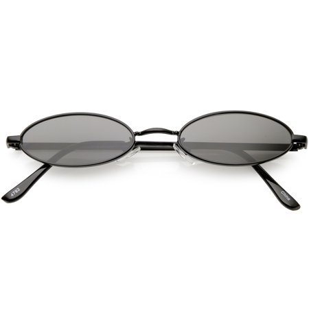 Extreme Small Oval Sunglasses Neutral Colored Flat Lens 51mm (Black / Smoke) ()