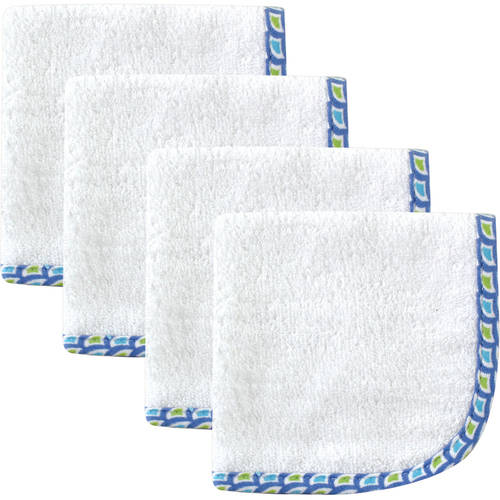 Hudson Baby Woven Washcloth, Blue White, 4 Pack by Babyvision, Inc.