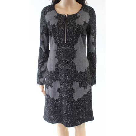 Zip Detail Sheath Dress - INC NEW Gray Black Women's Size Small S Floral Lace Zip Sheath Dress