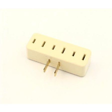 Triple Tag - Leviton 65-I Ivory NEMA 1-15R 15A 125V Triple Tap Plug-In Outlet Adapter