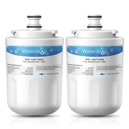 2 Pack Waterdrop UKF7003 Replacement for Maytag UKF7003, Whirlpool EDR7D1 Refrigerator Water Filter Replacement