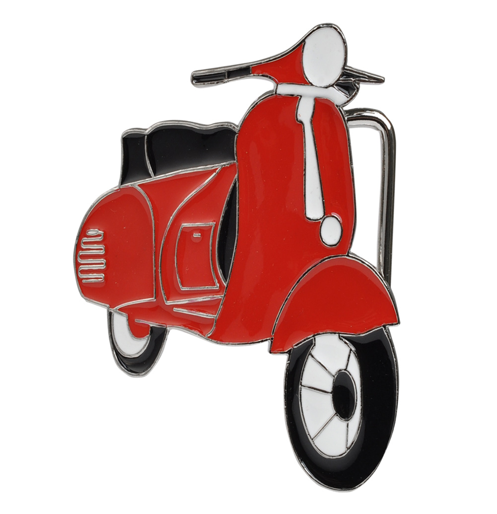 Buckle Rage Large RETRO Vespa Moped Belt Buckle , RED, 135-RED