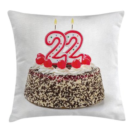 Ambesonne Festive Chocolate Cake Candles Square Pillow Cover