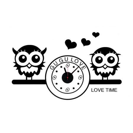 Living Room PVC Owl Print DIY Self-adhesive Removable Wall Sticker Decor - Owl Clocks