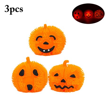 Justdolife 3PCS Halloween Pumpkin Light Cute Funny Expression Pumpkin LED Ball Soft Squishy Toy for Kids - Halloween Expressions
