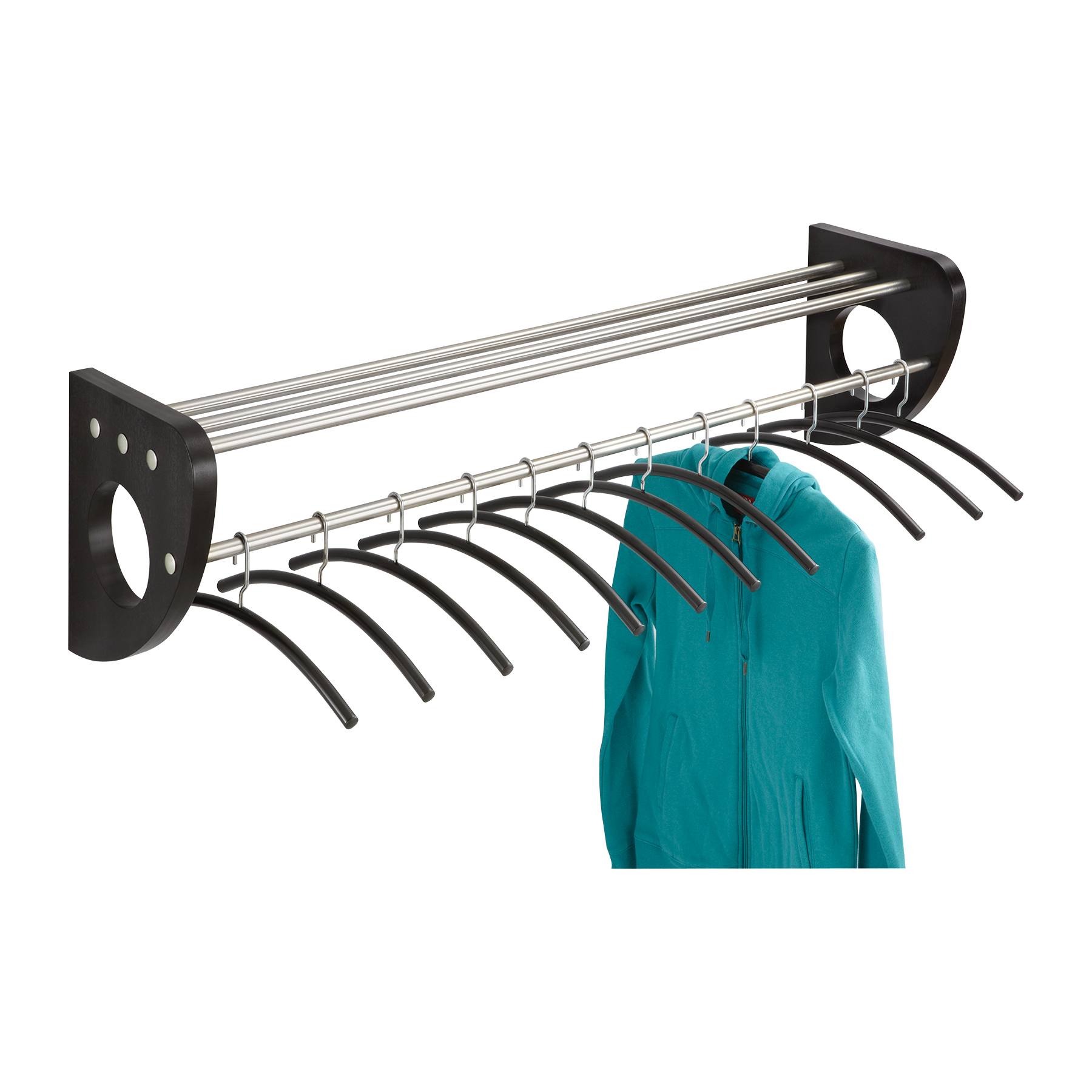 Safco 4213BL Coat Racks Mode 48 In Wood Wall Coat Rack With Hangers