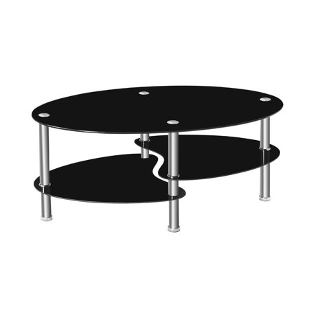 Ktaxon Glass Coffee Table Oval Side Shelves Chrome Base Living Room  Furniture,Black