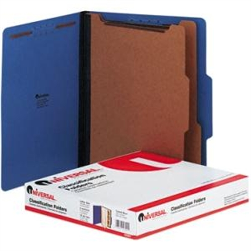 Universal Pressboard Classification Folders, Letter, Six-Section, Cobalt Blue, 10/Box