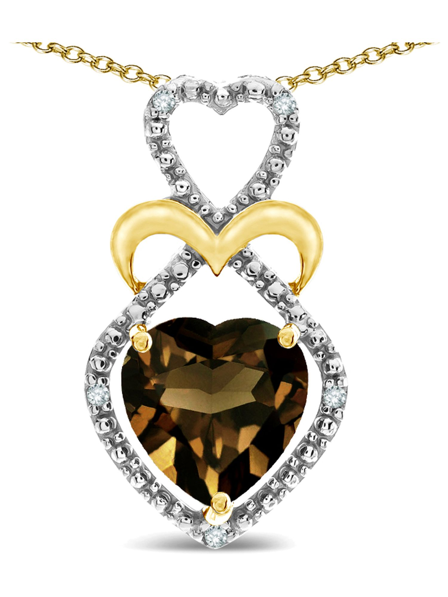 Star K Heart Shape 8mm Genuine Smoky Quartz Heart Halo Embrace Pendant Necklace 10k Yellow Gold with Rhodium Finish