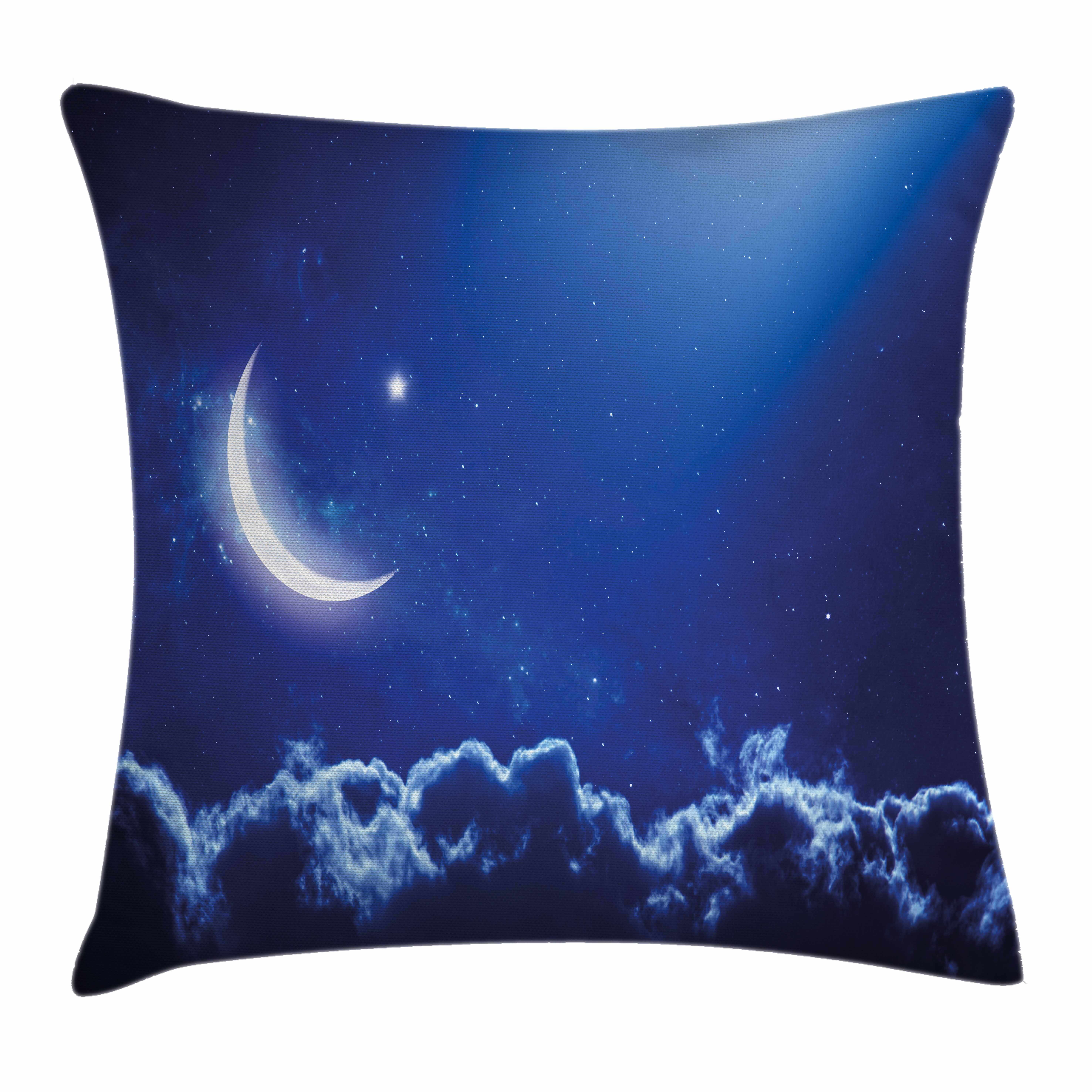 Night Throw Pillow Cushion Cover, Eid Mubarak Themed IMage with Crescent Moon... by Kozmos
