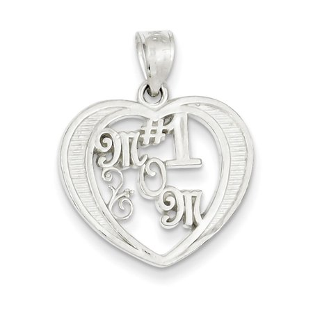 Sterling Silver # 1 Mother Heart Charm 1 Mother Heart Charm