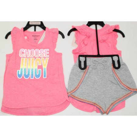 Juicy Couture Girl's Two Piece Set, Tank Top Shirt and Short, Pink Multi Grey 5