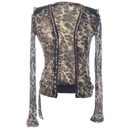 Cheetah Print Cardigan - Anna-Kaci Womens Sheer Brown Cheetah Print Gold Chain Silver Bead Open Cardigan