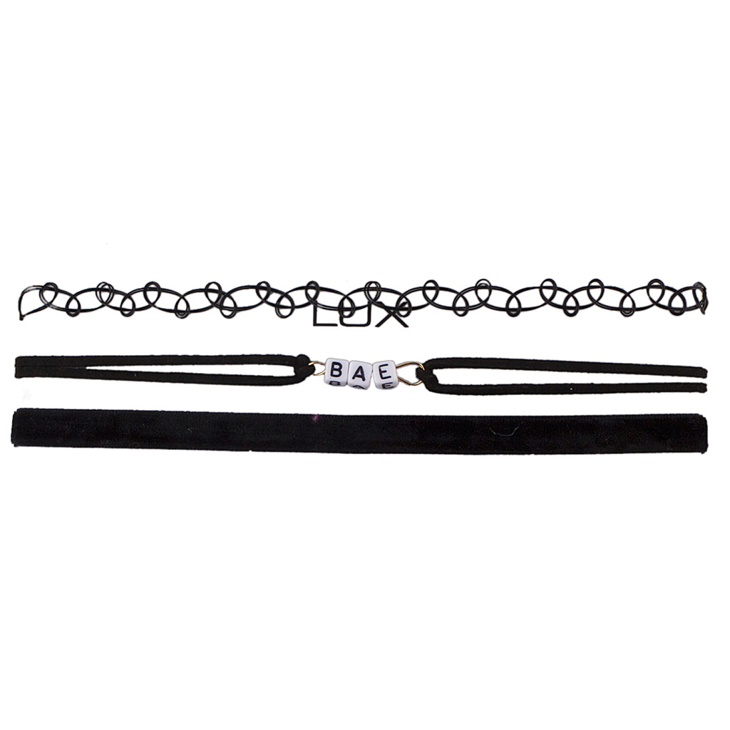 Lux Accessories Black 90s Bae BlockLetter Verbiage Hippie Tattoo Choker Necklace