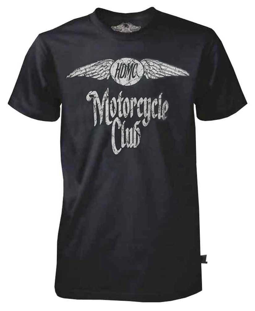 Harley-Davidson Men's Black Label Washed T-Shirt, Distressed HDMC Winged, Blue, Harley Davidson by Bravado