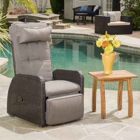 Carolyn Outdoor Wicker Recliner with Cushion, Multibrown, Brown