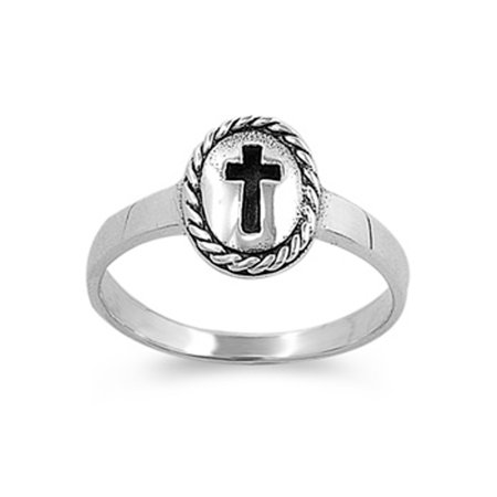 Sterling Silver Vintage Cross Ring Christian Religious Band Solid 925 Size 1